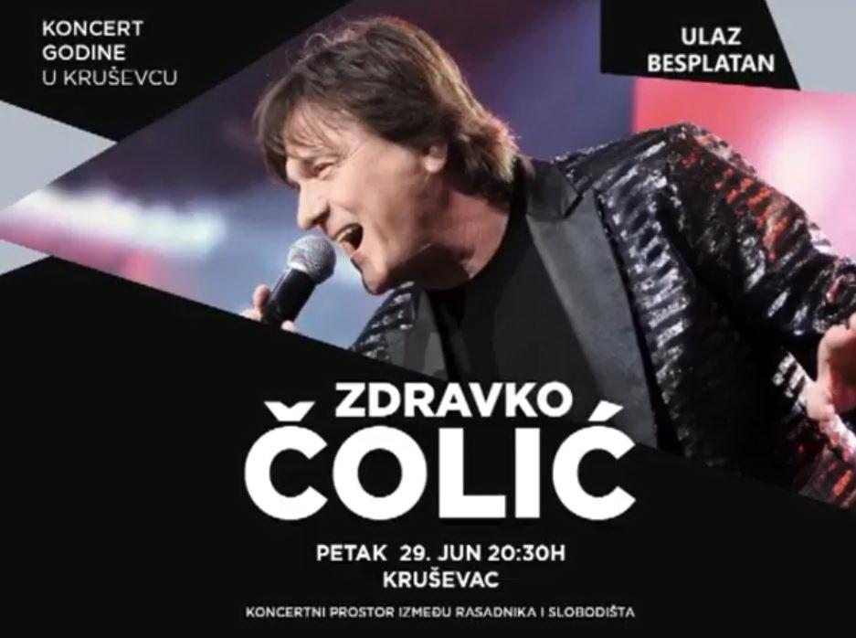 Zdravko Čolić 29. juna u Kruševcu na besplatnom koncertu