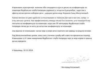 Izvinjenje Milorada Kosanovića