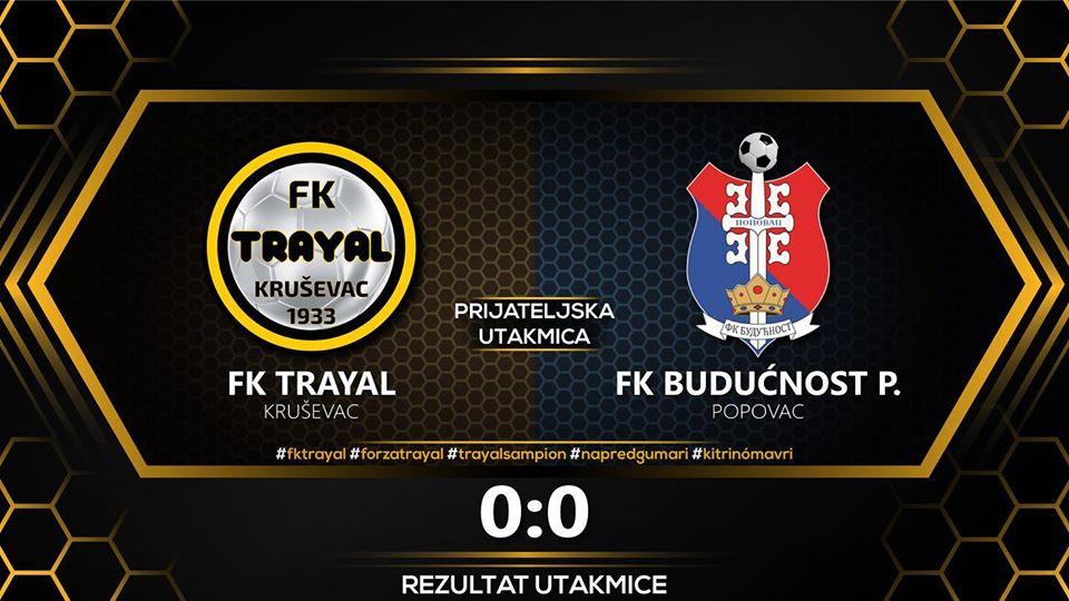 Kontrolna utakmica u Kruševcu: FK Trajal – Budućnost Popovac 0:0